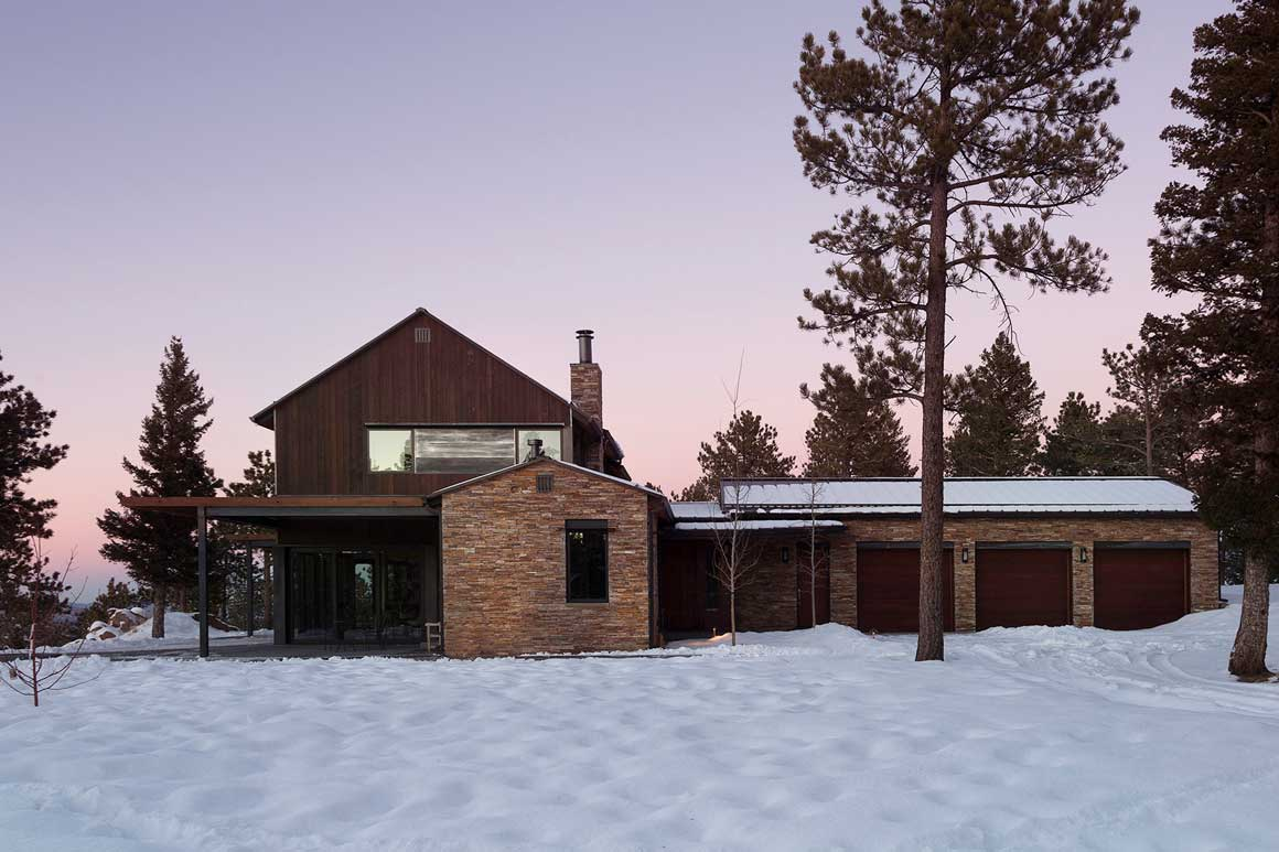 The Exterior Looks Like An Old Farmhouse With Modern Details Flanked By Stone Out Buildings This Home Is Located At Very Top Of Flagstaff Mountain